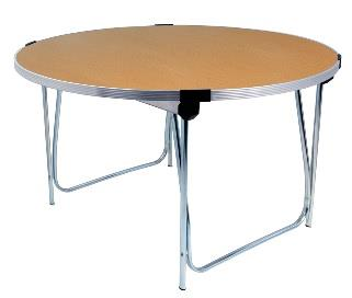 4ft Laminate Round Folding Table - Oak thumbnail