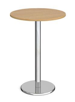Chrome Round Base Cafe/Bistro Table - Tall Round - Walnut thumbnail