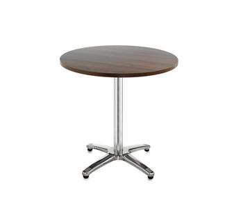 Chrome Leg Base Cafe/Bistro Table - Round - Walnut thumbnail