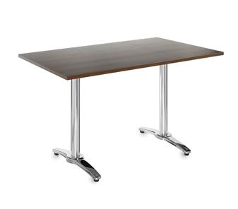 Chrome Leg Base Cafe/Bistro Table - Rectangular - Walnut thumbnail