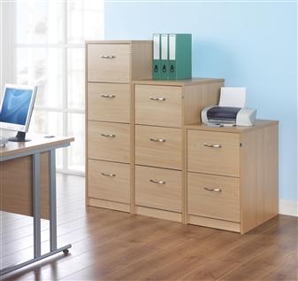 2, 3 & 4-Drawer Wooden Filing Cabinets - Silver Handles thumbnail