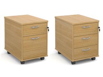 2-Drawer Mobile Wooden Pedestal - Silver Handles thumbnail
