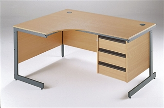 C-Frame Radial Desk + Fixed 3-Drawer Pedestal - Left-Hand thumbnail