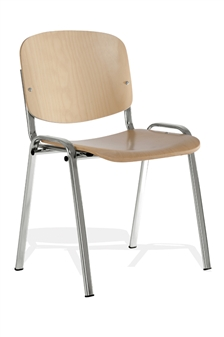 Wood/Chrome Stacking Chair thumbnail