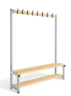 Single Sided Coat Hook Bench With Optional Base Shelf Slats thumbnail