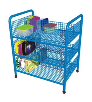 Double-Sided Mobile Lunchbox Trolley - Blue thumbnail