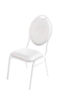Stackable Faux Leather Banqueting Chair - White thumbnail