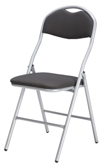 De Luxe Folding Fabric Chair - Silver Frame With Anthracite Seat & Back thumbnail