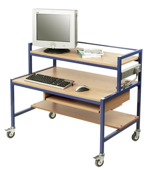Fixed Height Two Tier Computer Trolley With Pull-Out Keyboard Shelf - Beech Shelves & Blue Frame  thumbnail