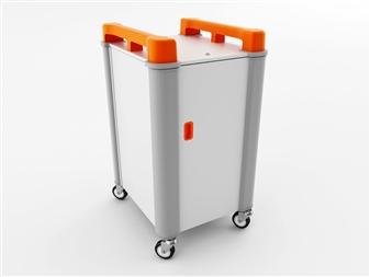 10 Port Laptop Recharging Storage Trolley - Vertical Storage - Orange thumbnail