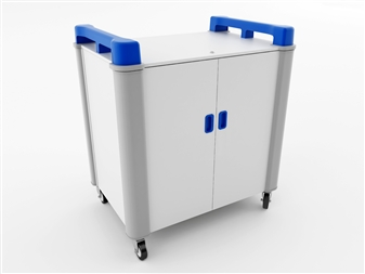 16 Port Laptop Recharging Storage Trolley - Vertical Storage - Blue thumbnail
