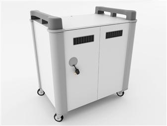 20 Port Laptop Recharging Storage Trolley - Vertical Storage - Back Closed   thumbnail