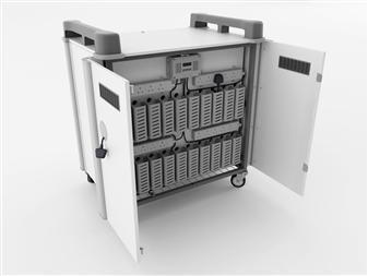 16 Port Laptop Recharging Storage Trolley - Vertical Storage - Back Open   thumbnail