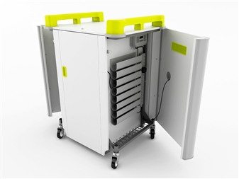 16 Port Laptop Recharging Storage Trolley - Horizontal Storage - Sides Open   thumbnail
