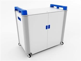 32 Port Laptop Recharging Storage Trolley - Horizontal Storage - Blue  thumbnail