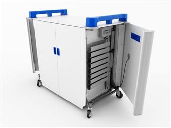 32 Port Laptop Recharging Storage Trolley - Horizontal Storage - Sides Open thumbnail