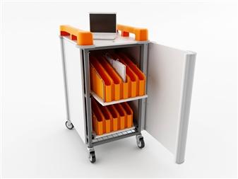 20 Port Mini Laptop Recharging Storage Trolley - Vertical Storage - Orange thumbnail
