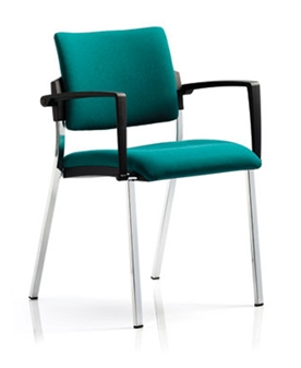 Viscount Stacking Chair - Vinyl - Chrome Frame With Arms thumbnail