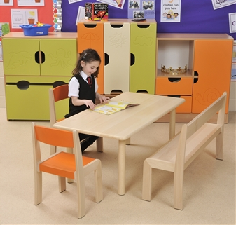 Beech Rectangular Table With Beech Stacking Bench & Beech Stacking Chair thumbnail