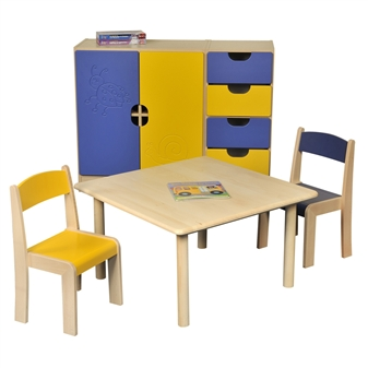 Beech Square Table With Beech Stacking Chairs  thumbnail