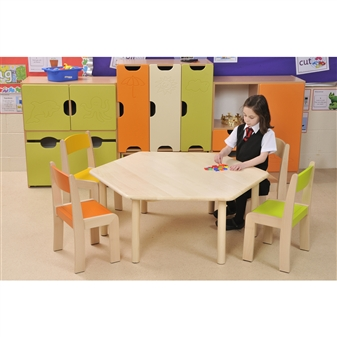 Beech Hexagonal Table With Beech Stacking Chairs thumbnail