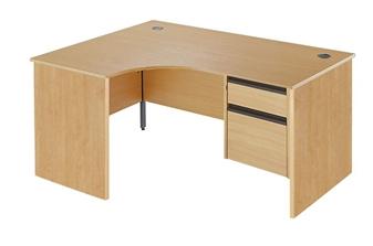 Panel End Radial Desk + Fixed 2-Drawer Pedestal - Left-Hand thumbnail