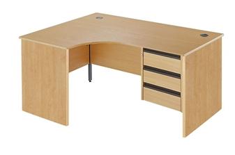 Panel End Radial Desk + Fixed 3-Drawer Pedestal - Left-Hand thumbnail