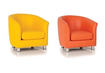 Childrens Vinyl Tub Chair - Yellow & Orange thumbnail