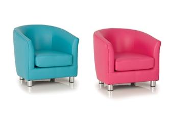Childrens Vinyl Tub Chair - Light Blue & Pink thumbnail
