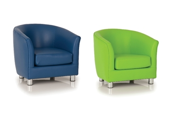 Childrens Vinyl Tub Chair - Dark Blue & Green thumbnail