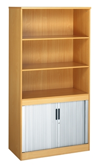 Combination Bookcase With Tambour Doors  thumbnail