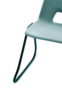Poly Stacker Chair w/ Skid Base Close Up - Light Grey thumbnail