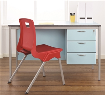 Teacher Desk Shown in Soft Blue 3 Drawer Option thumbnail