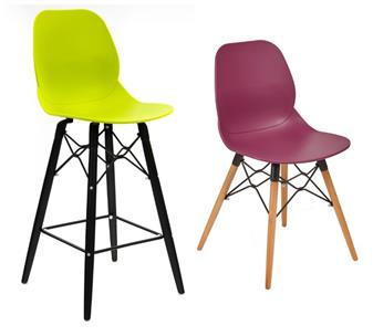 Green Mid Height Black Beech Legs & Plum Chair Beech Legs thumbnail