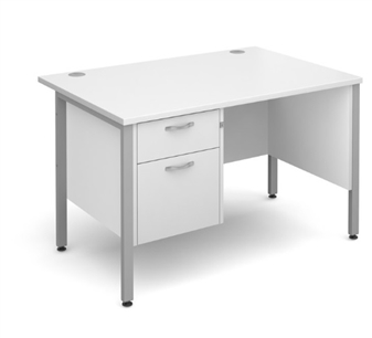 White 2 Drawer Teacher Desk thumbnail