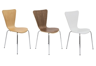 Contract Cafe / Bistro Chair In Beech, Walnut & White thumbnail