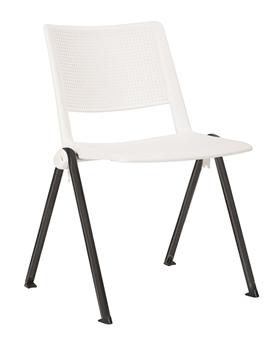 Pinnacle Stacking Chair - White + Black Frame thumbnail