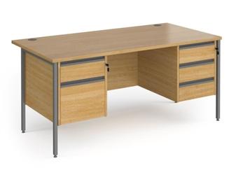 Budget Contract Office Desk With 1 x 2 Drawer Pedestal & 1 x 3 Drawer Pedestal - OAK thumbnail
