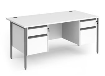 Budget Contract Office Desk With 2 x 2 Drawer Pedestals - WHITE thumbnail