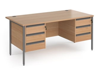 Budget Contract Office Desk With 2 x 3 Drawer Pedestals - BEECH thumbnail