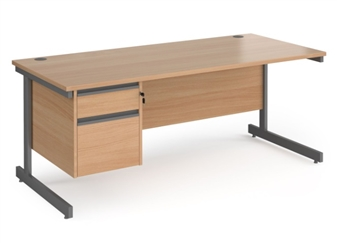 1800mm Contract C-Frame Office Desk With 2 Drawer Pedestal - BEECH thumbnail