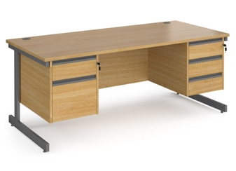 1800mm Contract C-Frame Office Desk With 2 Drawer & 3 Drawer Pedestal - OAK thumbnail