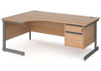1800mm BEECH Contract C-Frame Radial Desk + Fixed 2 Drawer Pedestal - Left Hand Return thumbnail