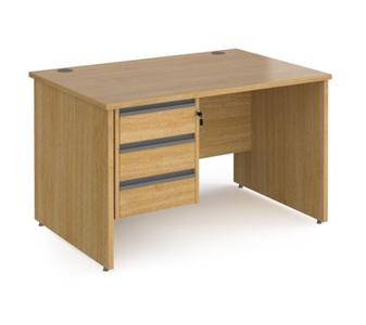 1200mm Contract Panel End Rectangular Desk With 3 Drawer Pedestal - OAK thumbnail