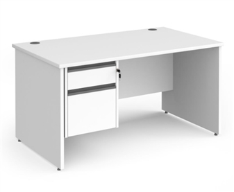 1400mm Contract Panel End Rectangular Desk With 2 Drawer Pedestal - WHITE thumbnail