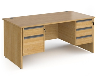 1600mm Contract Panel End Rectangular Desk With 1 x 2 Drawer & 1 x 3-Drawer Pedestal - OAK thumbnail