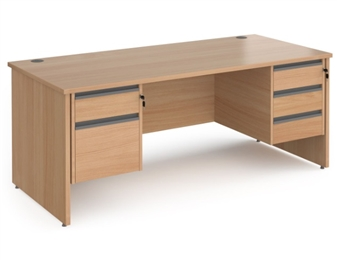 1800mm Contract Panel End Rectangular Desk With 1 x 2 Drawer & 1 x 3-Drawer Pedestal - BEECH thumbnail