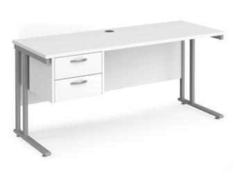 600mm Deep Desk With Single Pedestal - WHITE thumbnail
