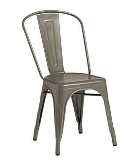 Piero Metal Bistro Chair - Dark Grey thumbnail