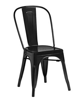 Piero Metal Bistro Chair - Gloss Black thumbnail